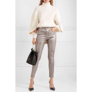 Rag & Bone High Rise Skinny Silver Metallic Jeans
